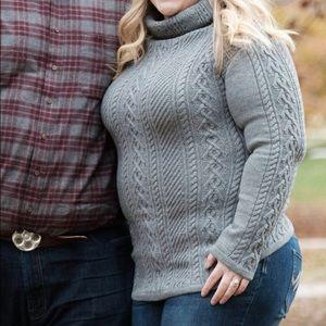 Sweaters - Gray knit turtleneck sweater